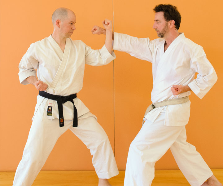 Sensei Andy and Sensei Bob demonstrating Shotokan Karate at Minneapolis Dojo